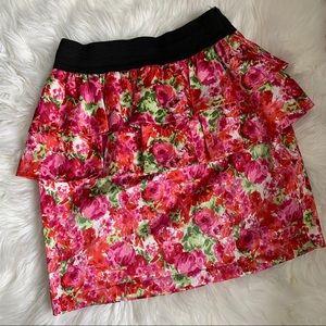 Nordstrom Green Envelope Floral Skirt